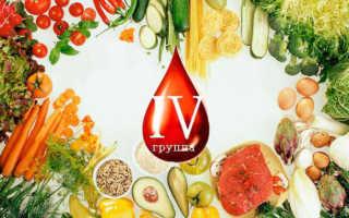 Диета по таблице продуктов для 4 положительной группы крови – выбор рациона